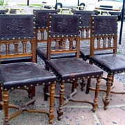Set of 6 Six Renaissance Revival Walnut Chairs Leather