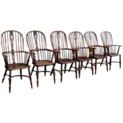 Set of Six English High Back Windsor Chairs
