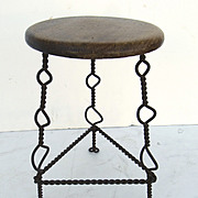 Mexican Iron and Wood Vendor's Stool