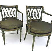 Pair of Hepplewhite Style Painted Chairs.