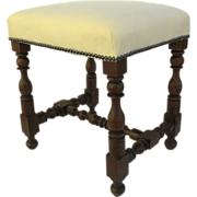 Italian Turned Leg Stool Antique Tapestry Upholstry