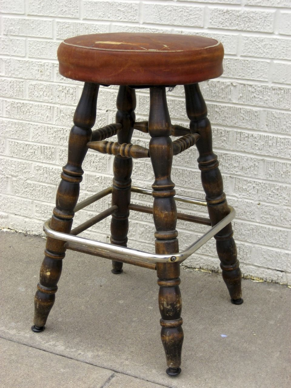 Vintage 1950 39 S Bar Stool Leather Seat From Blacktulip On