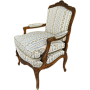 French Walnut Carved Bergere Chair