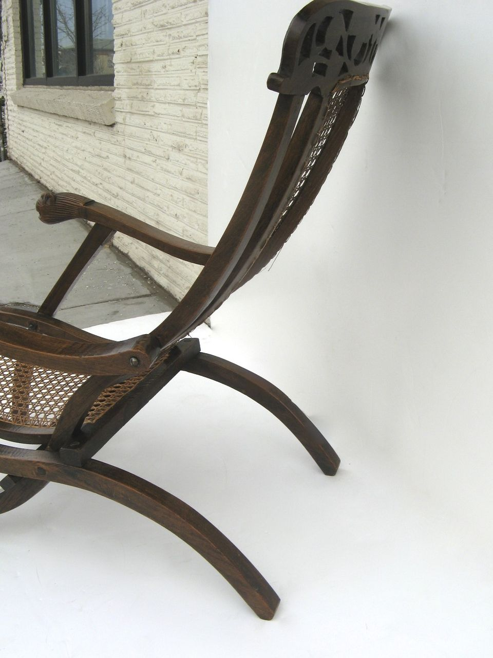 Indo Portuguese Carved Folding Cane Chair from blacktulip on Ruby Lane