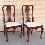 Pair of Queen Anne Style Chairs Red Paint