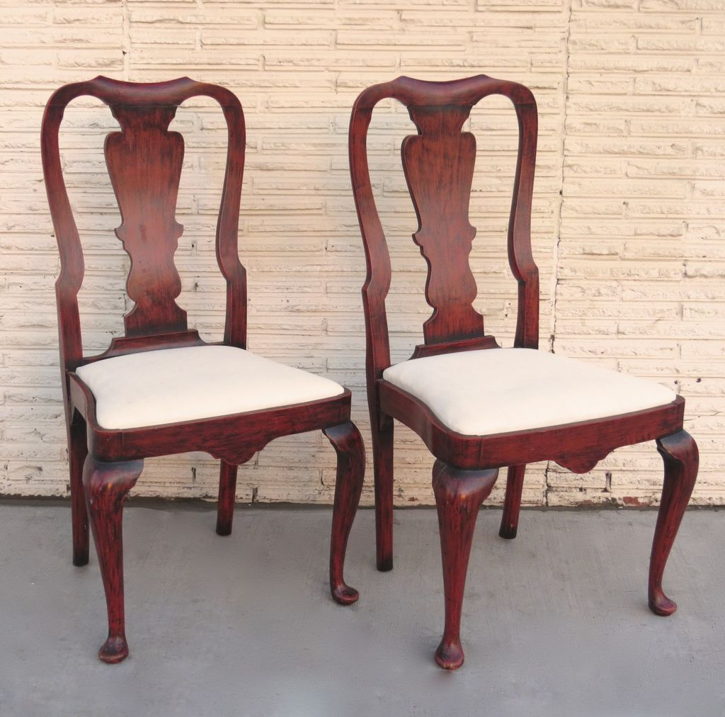 Pair Of Queen Anne Style Chairs Red Paint From Blacktulip