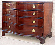 English Mahogany Serpertine Chest of Drawers c 1800