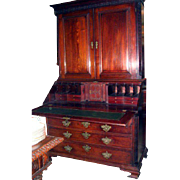 George III Mahogany Slant Front Bookcase