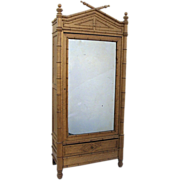 French Faux Bamboo One Door Armoire
