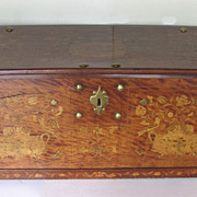 English Inlaid Trunk Coffer Coat of Arms