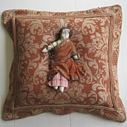 Vintage Fabric Pillow with India Doll Flange Edge