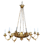 Italian Empire Carved gilt 8 arms Chandelier