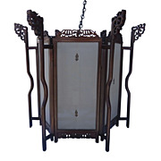 Chinese Rosewood Lantern with Silk Panels