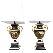 Pair of English Porcelain Footed Urns now as Lamps.