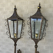 Pair of Brass Torchere Style Brass Lanterns