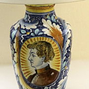 Italian Faience Urn Now as a Lamp