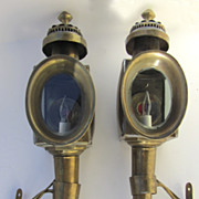 Pair of Vintage Brass Coach Carriage Lights