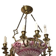 German Porcelain Chandelier with Ram Motif