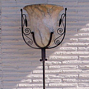 Wrought Iron Floor Lamp Onyx Shade