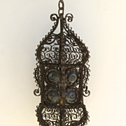 Iron Scroll Lantern with Colored Bullseye Glass