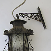 Spanish Revival Vintage Iron Scroll Lantern with Wall Bracket