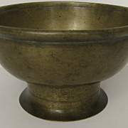 Early English or Dutch Footed Brass Bowl 17th Century
