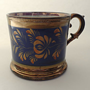 Antique Copper Luster Handled Mug with Blue Band