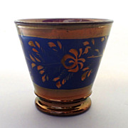 English Copper Luster Cup with Blue Design