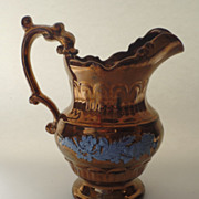 Scottish Copper Luster Hot Milk Jug Pitcher Raised Motif