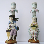Pair of Hand Painted Candlesticks Germany Porcelain Sitzendorf