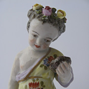 Porcelain Cherub Hand Painted Holding Bird's Nest Impressed Mark
