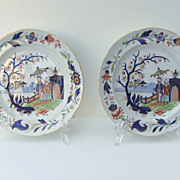 Pair of English Chinoiserie Decorated Pearlware Plates