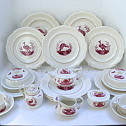 12 x Spode Black Bird Fushia Tea Pot, Sugar, Covered Dishes 34 Pieces