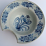 French Faience Blue and White Barber Bowl