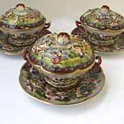 Set of Three Covered Capodimonte Sauce