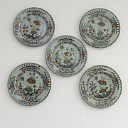 Set of 5 Reticulated Plates Cantagalli Garofano Pattern 1940's