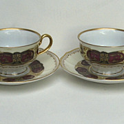 Set of Four Furstenberg Bruswick Germany Cups and Saucers Demitasse Gilt Detail