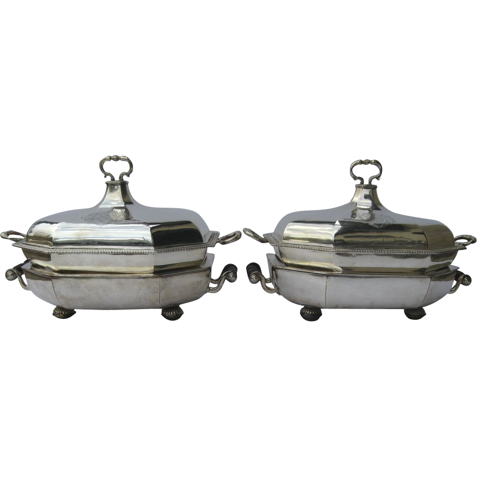 Pair of English Sterling Silver Entree Servers by Taylor & Waklin