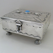 Silver Native American Tooled Box Footed c 1940