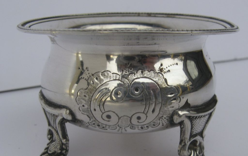 Silverplate Salt Repousse Motif