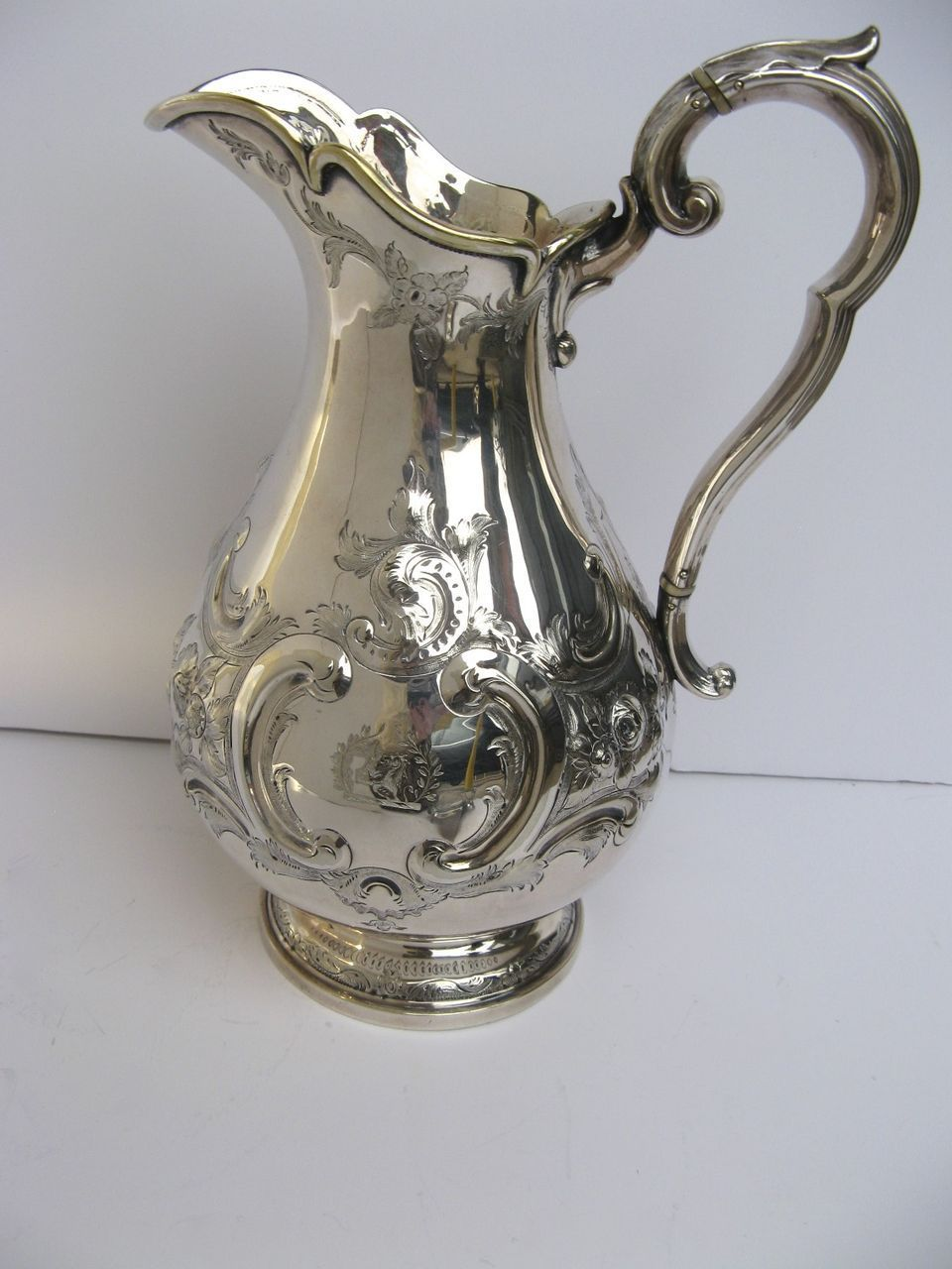 Beautifully Hand Chased Silverplate Pitcher by Martin and Hall