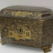 Chinese Export Lacquered Tea Caddy With Carved Feet