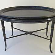Oval papier Mache Tray with Black Japanned Finish.