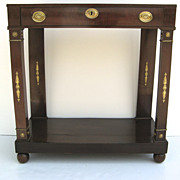 European Mahogany Petite One Drawer Console Table