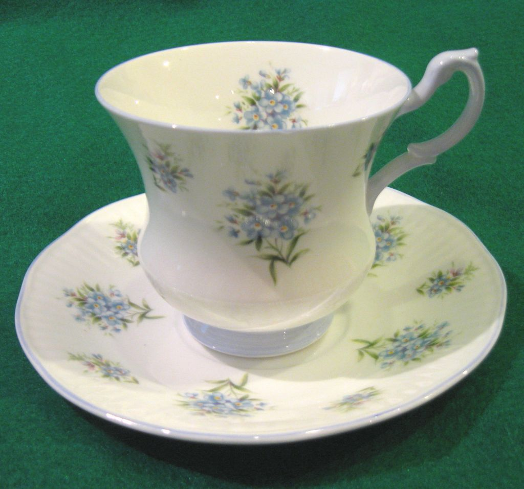 Royal Dover Fine Bone China, Petite Blue Flowers Teacup and Saucer Set