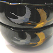 SALE Glossy Black Japanese Ceramic Bowls of Flying Cranes