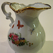 Hand Painted Royal Crown Gilded Petite Water Pitcher with Garden Flowers