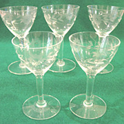 Vintage Etched Crystal Glass Cordial-Sherry Stemware with Spring Floral Pattern, Set of 5