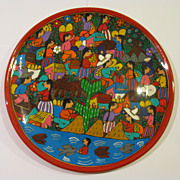 Terracotta Folk Art Hand Painted Plate of Village Scene