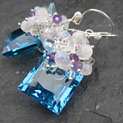 Swiss blue topaz earrings sterling silver moonstone sky blue topaz amethyst --Antigua--
